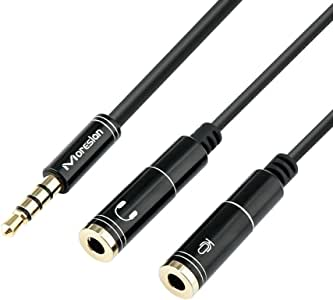 Headset Mic Adapter Headphone Y Splitter 3.5mm Male to 2 Female Audio Jack Splitter Cable with Separate Headphone/Microphone Plugs for Gaming Headset, Xbox One, PC, Notebook, Smartphone, Tablet
