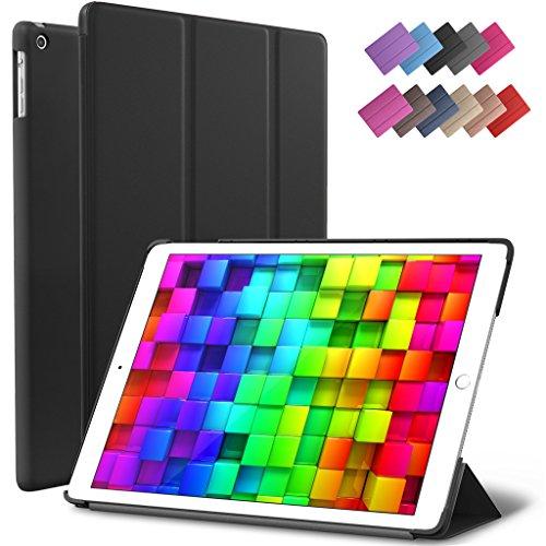 iPad Mini 2 Case, iPad Mini 3 Case, ROARTZ Black Slim Fit Smart Folio Case Rubber Coated Hard Shell Cover Light-Weight Auto Wake/Sleep Feature for Apple iPad Mini 1/2/3 Retina Display