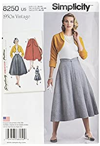 1950s Sewing Patterns | Swing and Wiggle Dresses, Skirts Simplicity Creative Patterns US8250U5 8250 Simplicity Pattern 8250 Misses Vintage 1950s Skirt & Bolero Size: U5 (16-18-20-22-24) $4.00 AT vintagedancer.com