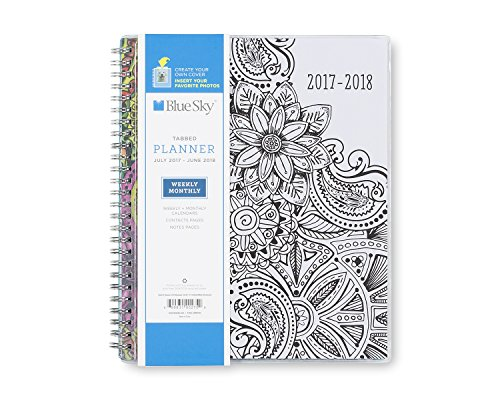 "Blue Sky 2017-2018 Academic Year Weekly & Monthly Planner, Twin-Wire Bound, 7"" x 9"", Mandala"
