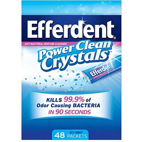 Efferdent Power Clean Crystals, Anti-Bacterial Denture Cleanser, Icy Mint 48 ea by Efferdent
