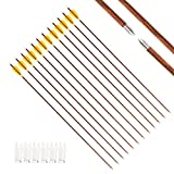 800 spine carbon arrows - Letszhu Archery Carbon Arrows 800 Spine Wood Grain Shaft with Real Feather Fletching and Field Point for Target Shooting (6 Pack) (31 Inch Arrows)