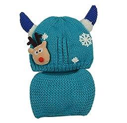 Baby Knitting Winter Warm Hat&Neckerchief Set 6-28 Months [Snowflake, Blue]