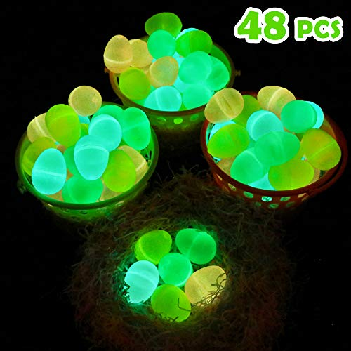 Moyeenee-48 Pcs Glow in the Dark Easter Eggs-To Filling Specific Treats, Easter Glow Theme Party Favor, Easter Eggs Hunt, Basket Stuffers Filler, Classroom Prize, Party Favor -
