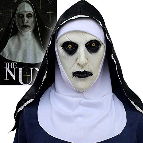 Leegoal Halloween Nun Mask, Horror Nun Mask with Headscarf The Conjuring 2 Full Face Mask for Halloween Costume Party Cosplay -