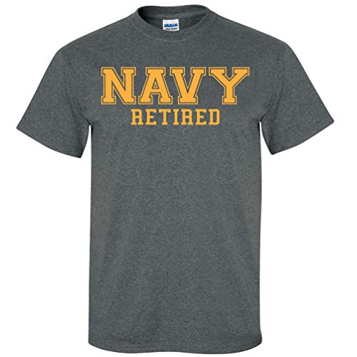 NAVY Retired GOLD Logo Short Sleeve T-Shirt in Dark Heather - X-Large