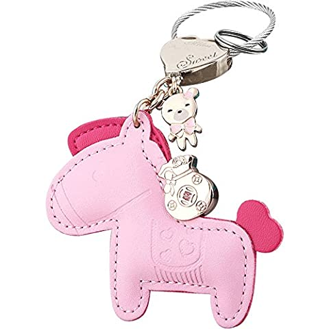 Jepeak Leather Key Chain Cute Luxury Horse Design Keychain Car Keys and Bags Pendant for Lover Keyring Trinket - Pink