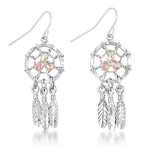 Black Hills Gold Dreamcatcher Earrings made of Sterling Silver - Dream Catcher Nature Jewelry