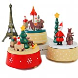 Christmas Dreams Rotary Wooden Music Box Creative Gifts Boxes Christmas Tree Christmas Decorations Gifts,Santa Claus