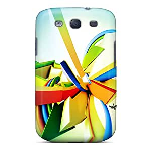 Hot Fashion QrD17396HKeW Design Cases Covers For Galaxy S3 Protective Cases (3d Stripes) Black Friday