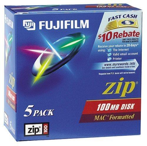 Fujifilm(R) Zip 100MB Disks, Mac Format, Pack Of 5 by Fujifilm