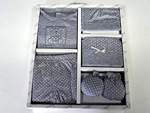 Gamberritos babykleding set beertje 5-delig grijs