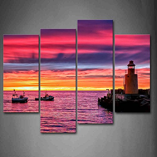 Colorful Sunset Glow Boats Over River Lighthouse Wall Art