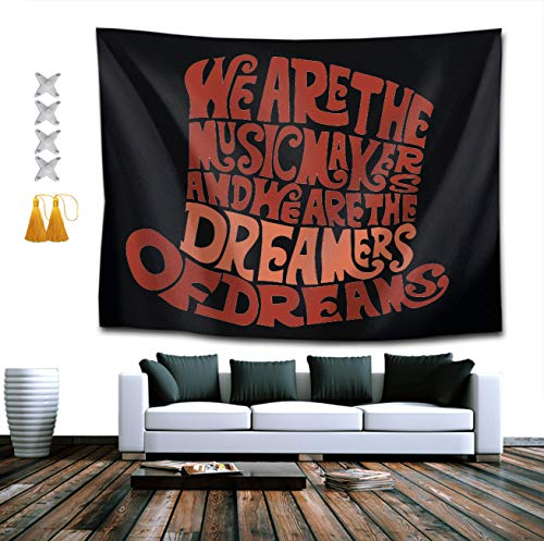 CIGOCI Willy Wonka Hat Dreams Brown Tapestries, Boho Wall Tapestry Wall Hanging Tapestry - Home Indian Decor Retro Art for Living Room Bedroom Dorm Room ()