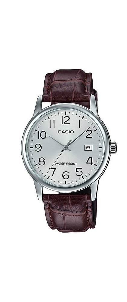 Casio #MTP-V002L-7B Men's Standard Analog Leather Band Easy Reader Day Date Watch