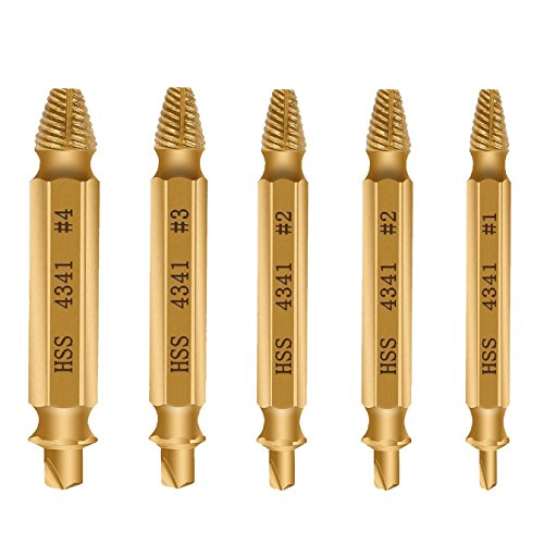 - Damaged Screw Remover, [New Version] Diyife Extractor Set, Set of 5 Stripped Screw Removers, Speed Out Drill Bits Guide Set for Removal of Broken or Damaged Screws Made From H.S.S. 4341#, Gold