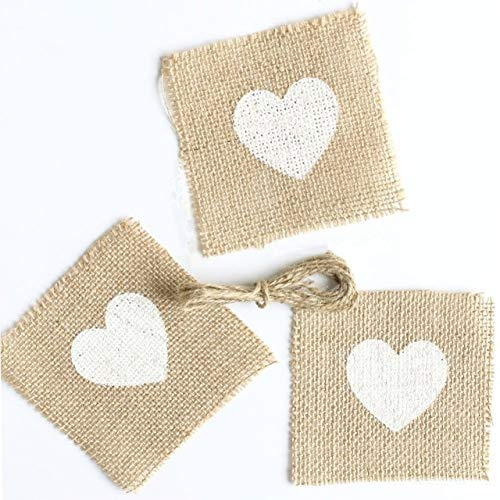 CTY Craft 50pcs Natural Jute Burlap with Love Rustic Wedding Centerpieces Wedding Table Decoration Mariage Vintage Shabby Chic (10cm x 10cm)