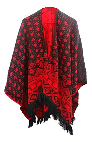 Get The Trend - Poncho - Étnica - para mujer Rosso