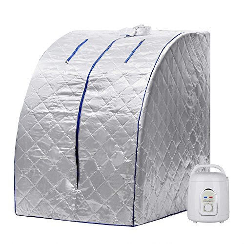 Steam Sauna, Jingjing1 Portable Steam Sauna Tent Personal SPA with Digital Display, Indoor Therapeutic Health Care for Weight Loss / Detox / Reduce Stress and Fatigue, Silver by Jingjing1