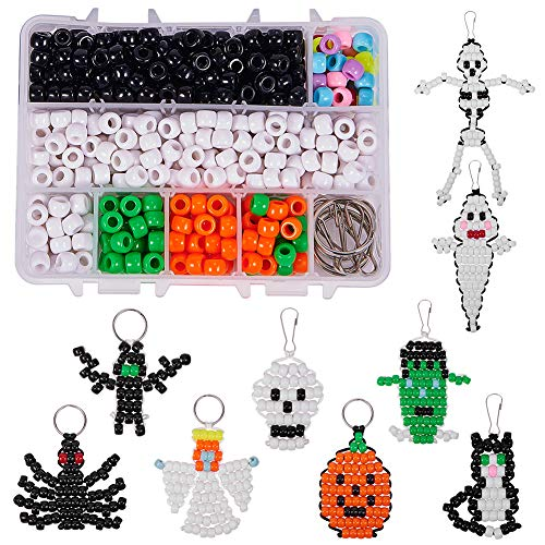 SUNNYCLUE 1 Box DIY Make 9PCS Halloween Theme Bead Pets Kit 8mm Pony Beads Assortment Box Set with Keychain, Keyring & Lanyard Clips, Instruction -