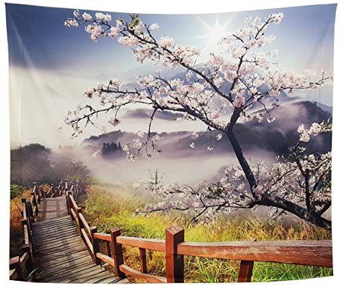 GARDOVA Tapestry | Nature | Cherry Blossom | Foggy Morning with Flowers Wooden Walkway | Wall Hanging Wall Blanket Wall Art Decor | Spring | 59 X 51 ()