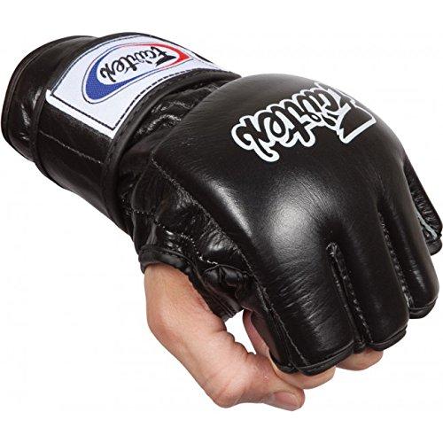 Bangplee_Sport Fairtex FGV12 Open Thumb Loop Ultimate Combat Gloves Combat Kick Boxing MMA (Solid Black, L)