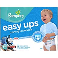 Pampers Easy Ups Training Pants Pull On Disposable Diapers for Boys Size 5 (3T-4T), 72 Count, SUPER