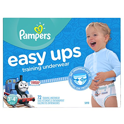 Pampers Easy Ups Training Pants Pull On Disposable Diapers for Boys Size 5 (3T-4T), 72 Count, SUPER ()