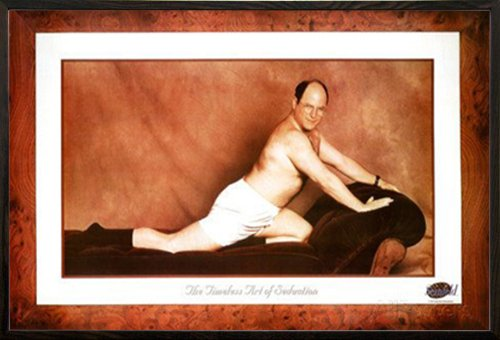 Seinfeld-George Timeless Art Of Seduction Poster in a Walnut Wood Frame