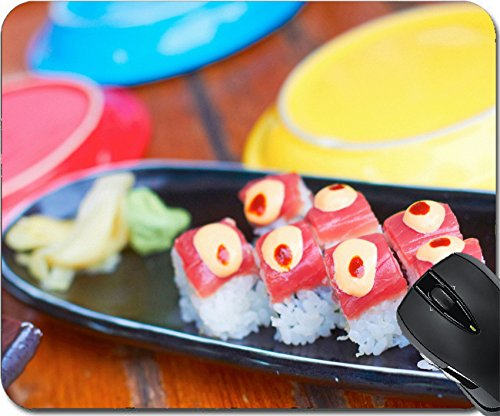 Wasabi Hand Wash (MSD Natural Rubber Mouse Pad Mouse Pads/Mat design 24320641 Sushi roll with tuna avocado spicy mayo ginger wasabi surrounded colorful plating)