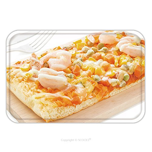 Homemade Pizza Slice Costume (Flannel Microfiber Non-slip Rubber Backing Soft Absorbent Doormat Mat Rug Carpet Homemade Delicious Fresh A Slice Of Pizza On Wooden Plate Ready To Eat With Isolated On White 448192027 for Indoor/Outd)