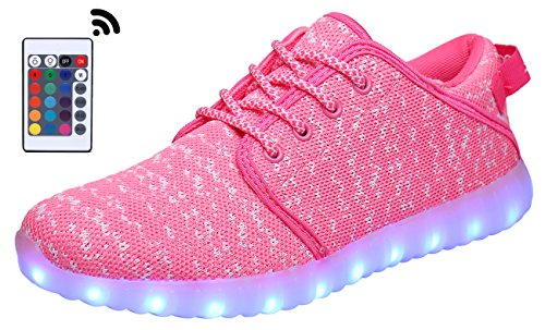 Adult Light Up Shoes (MOHEM ShinyNight LED Shoes Light Up USB Charging Flashing Sneakers(1687018Pink34))