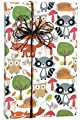 Forest Friends Woodlands Owl Tree Fox Patterned Elegant Gift Wrap Wrapping Paper