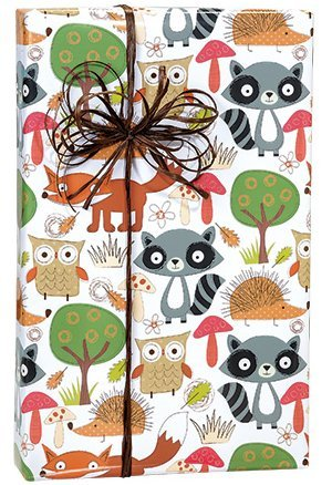 Forest Friends Woodlands Owl Tree Fox Patterned Elegant Gift Wrap Wrapping Paper ()