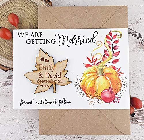 Wedding Fall Leaves Invitation (Halloween Pumpkin Save The Date Card, Leaf Wedding Save The Date Magnet, Autumn Save The Date Card, Wood Save The Date, Rustic Magnet Set of 20)