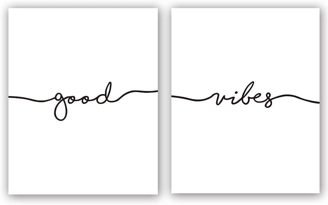 "Good Vibes Art Print Set Of 2 (8""X10"")Minimal Art, Black and White Yoga Studio Decor, Bedroom Inspirational Lettering Printing, Motivational Canvas Wall Art Poster For Office Decoration, No Frame"