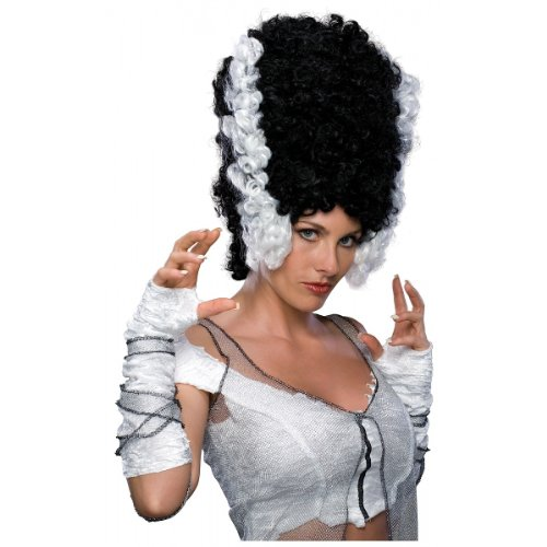 Monsters Bride Costume (Rubie's Costume Monster Bride Wig, Black/White, One Size)
