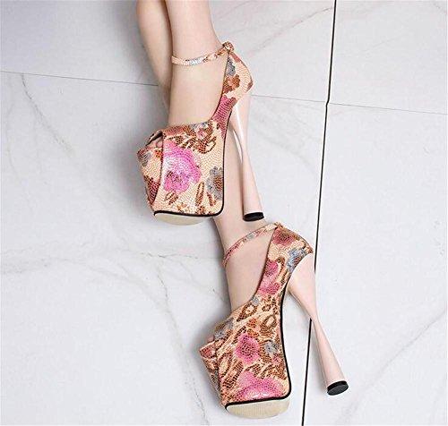 club PINK 35 Toe bloc haut Plate forme femmes à 41 soirée Talon Fête pour Chaussures Des Taille sandales Impression Pompes et EU36 Open XIE w8fHB7qxW