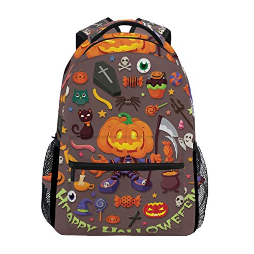 AHOMY Girls School Backpack Halloween Skull Head Witch Jack-O'-Lantern College Book Bag Lady Travel Rucksack -