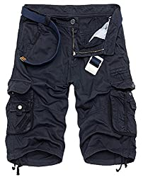 XueYin  Men's Summer Casual Wear Cotton Cargo Shorts (Blue,29 size)(Label 30)