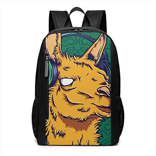 Llama Lisen to Music Laptop Backpack Business Travel Computer Bags School Bookbag Notebook for Women Men