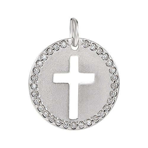 Sterling Silver and 0.08 Ctw Diamond Disc Cross Charm or Pendant (I1 Clarity, G-H Color) 12mm Diamond Round Disc Charm