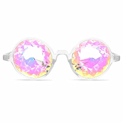 GloFX Clear Festival Kaleidoscope Glasses REAL rainbow diffraction rave glass kaleidoscope lenses: Clothing
