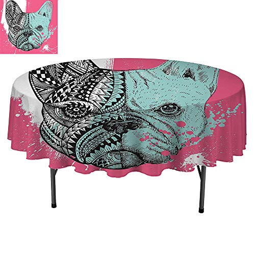 SATVSHOP Waterproof and Anti-fouling Tablecloth - round50Inch-Modern French Bulldog Split with Embellished Ethnic and Paintbrush Artwork Pink Seafoam Black White.
