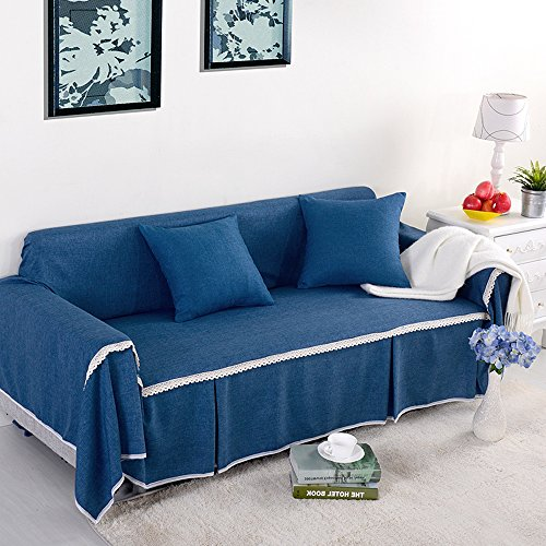 yazi Blue Washable Sofa Cover CouchRemovable Sette Anti-Slip Sofa Furniture Throw Slipcover Four Seat 85-137inch (Sette Furniture)