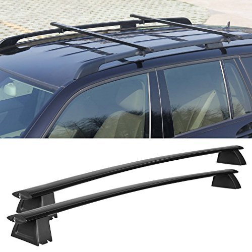 Cheesea Black Front and Rear Roof Rack Cross Bars Set For 2011-2017 Jeep Grand Cherokee (Only Fit LIMITED and OVERLAND)
