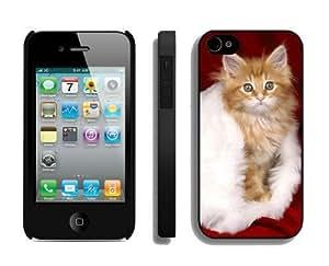 Featured Desin Christmas Cat iPhone 4 4S Case 18 Black
