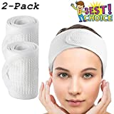 Facial Hair Styles For Long Faces - Waffle Spa Headbands for Women - COSCOD 2 Pack Facial Head Wrap Terry Cloth Headband Stretch Towel with Magic Tape for Bath, Makeup and Sport Microfiber Hair Band