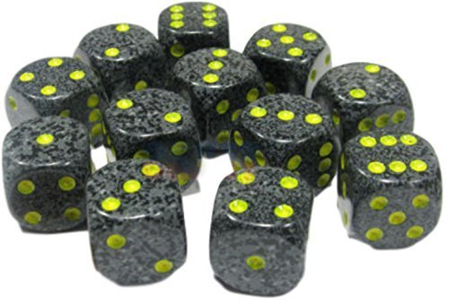 - Custom & Unique {Standard Medium 16mm} 12 Ct Dozen Pack Set of 6 Sided [D6] Square Cube Shape Opaque Playing & Game Dice w/ Rounded Corner Edges w/ Speckled Urban Marble Design [Black, Gray & Yellow]