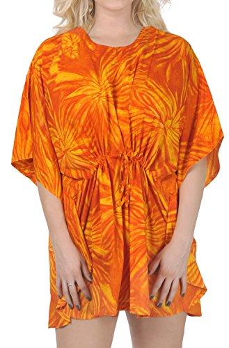 p504 likre Arancione plus LEELA caftano allover coprire size LA nuotare stampati vfqw5xz